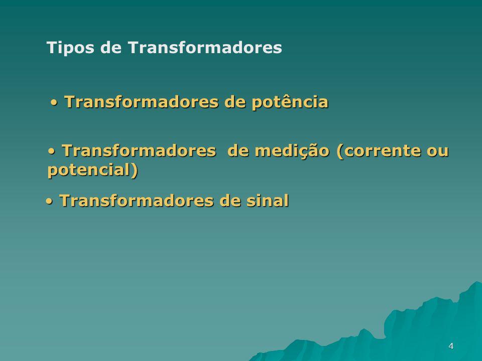4 Tipos de Transformadores Transformadores de potência Transformadores de potência Transformadores de medição (corrente ou potencial) Transformadores
