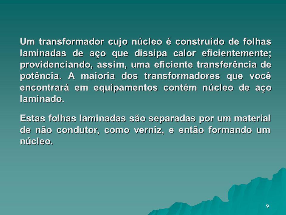9 Um transformador cujo núcleo é construído de folhas laminadas de aço que dissipa calor eficientemente; providenciando, assim, uma eficiente transfer