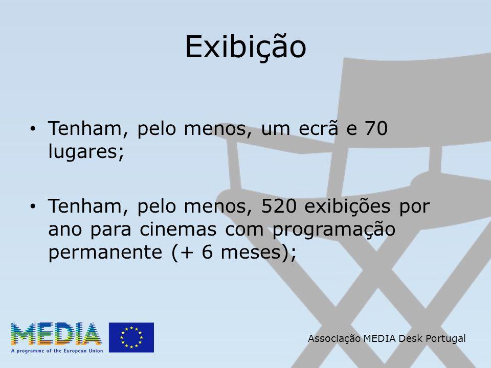 Associação MEDIA Desk Portugal Exibição Tenham, pelo menos, um ecrã e 70 lugares; Tenham, pelo menos, 520 exibições por ano para cinemas com programação permanente (+ 6 meses);