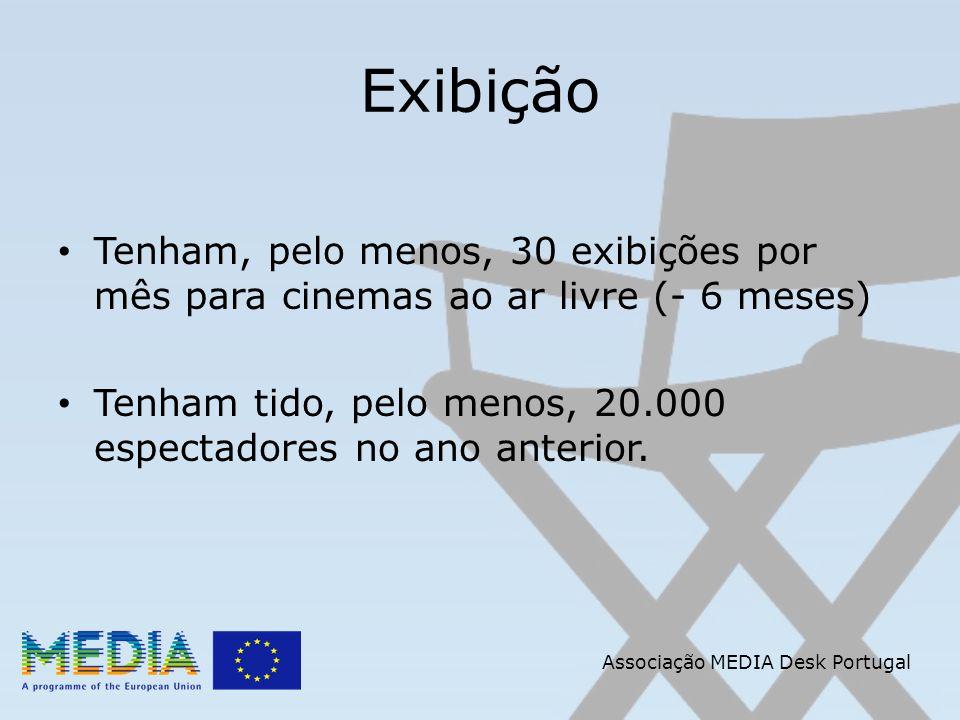 Associação MEDIA Desk Portugal Exibição Tenham, pelo menos, 30 exibições por mês para cinemas ao ar livre (- 6 meses) Tenham tido, pelo menos, 20.000 espectadores no ano anterior.