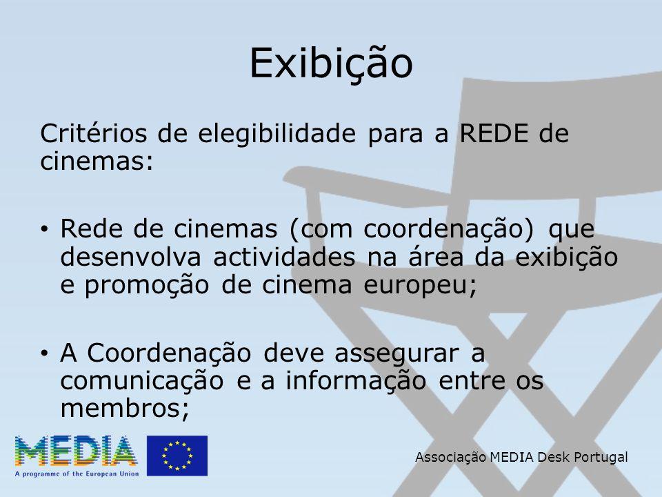 Associação MEDIA Desk Portugal Exibição Critérios de elegibilidade para a REDE de cinemas: Rede de cinemas (com coordenação) que desenvolva actividades na área da exibição e promoção de cinema europeu; A Coordenação deve assegurar a comunicação e a informação entre os membros;