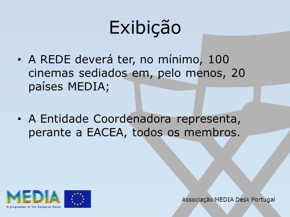 Associação MEDIA Desk Portugal Exibição A REDE deverá ter, no mínimo, 100 cinemas sediados em, pelo menos, 20 países MEDIA; A Entidade Coordenadora re