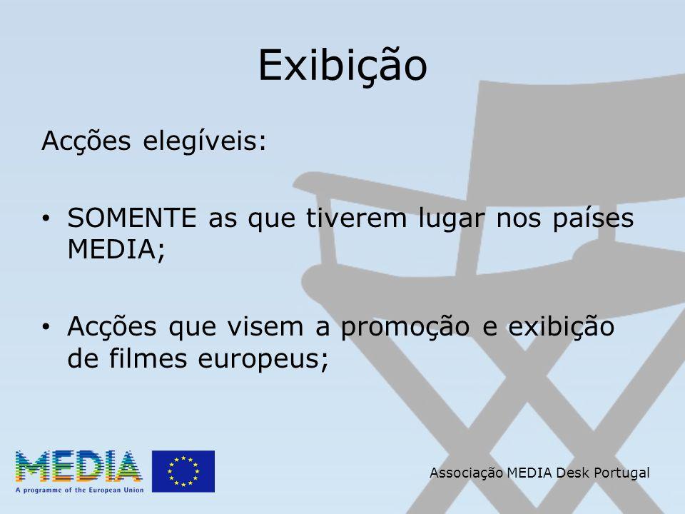 Associação MEDIA Desk Portugal Exibição Acções elegíveis: SOMENTE as que tiverem lugar nos países MEDIA; Acções que visem a promoção e exibição de filmes europeus;