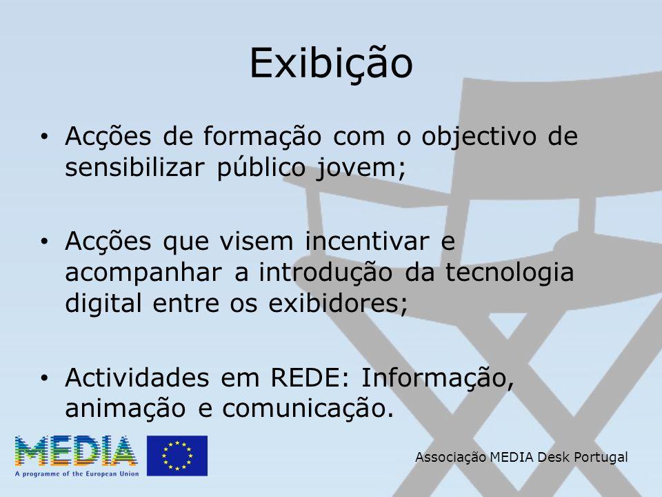 Associação MEDIA Desk Portugal Exibição Acções de formação com o objectivo de sensibilizar público jovem; Acções que visem incentivar e acompanhar a introdução da tecnologia digital entre os exibidores; Actividades em REDE: Informação, animação e comunicação.