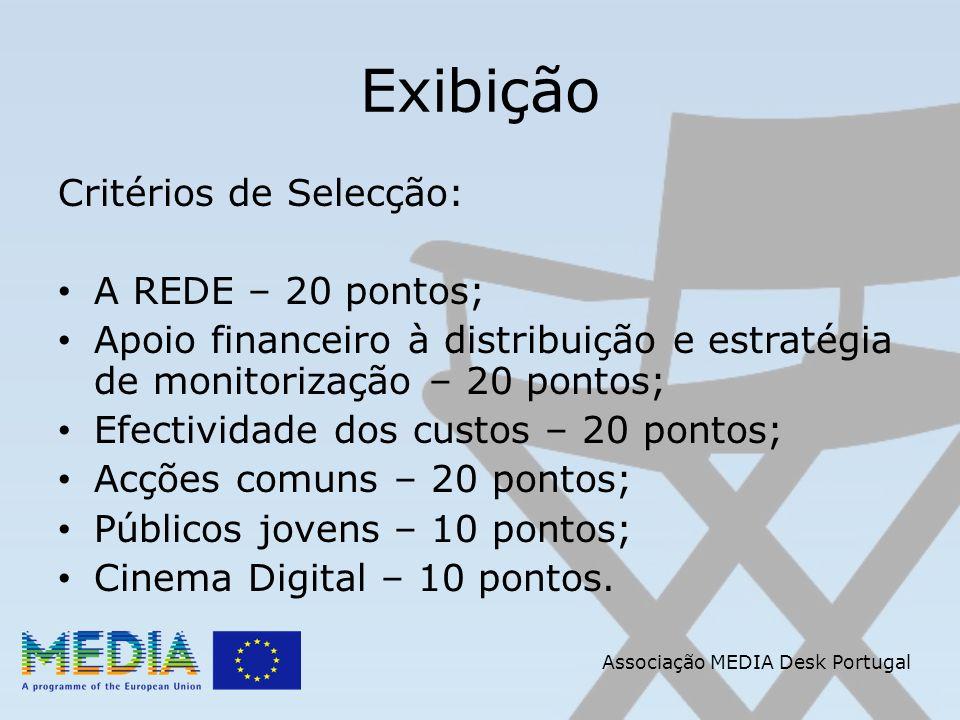Associação MEDIA Desk Portugal Exibição Critérios de Selecção: A REDE – 20 pontos; Apoio financeiro à distribuição e estratégia de monitorização – 20 pontos; Efectividade dos custos – 20 pontos; Acções comuns – 20 pontos; Públicos jovens – 10 pontos; Cinema Digital – 10 pontos.
