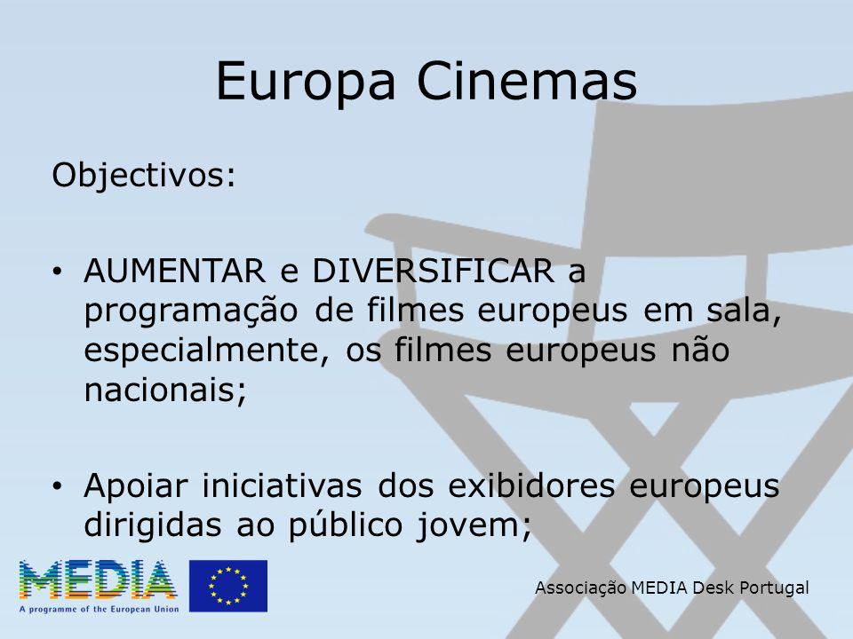 Associação MEDIA Desk Portugal Europa Cinemas Objectivos: AUMENTAR e DIVERSIFICAR a programação de filmes europeus em sala, especialmente, os filmes e