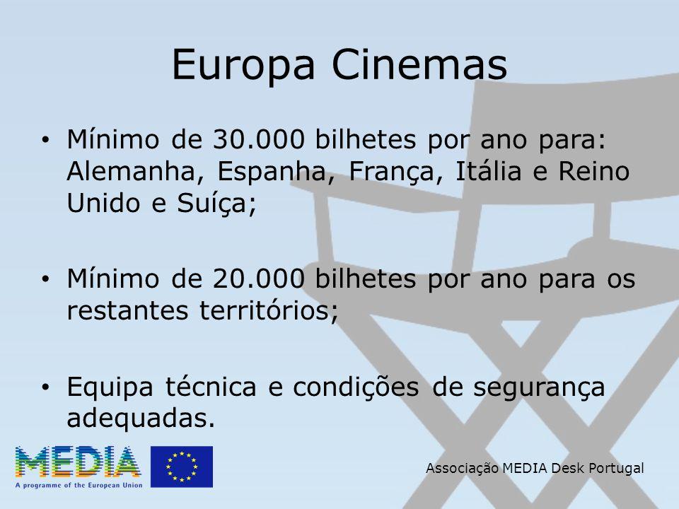 Associação MEDIA Desk Portugal Europa Cinemas Mínimo de 30.000 bilhetes por ano para: Alemanha, Espanha, França, Itália e Reino Unido e Suíça; Mínimo