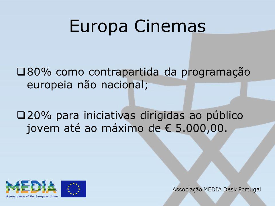 Associação MEDIA Desk Portugal Europa Cinemas 80% como contrapartida da programação europeia não nacional; 20% para iniciativas dirigidas ao público jovem até ao máximo de 5.000,00.