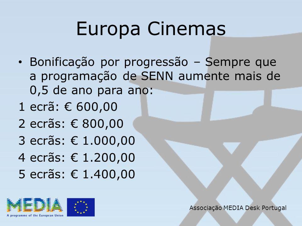 Associação MEDIA Desk Portugal Europa Cinemas Bonificação por progressão – Sempre que a programação de SENN aumente mais de 0,5 de ano para ano: 1 ecrã: 600,00 2 ecrãs: 800,00 3 ecrãs: 1.000,00 4 ecrãs: 1.200,00 5 ecrãs: 1.400,00