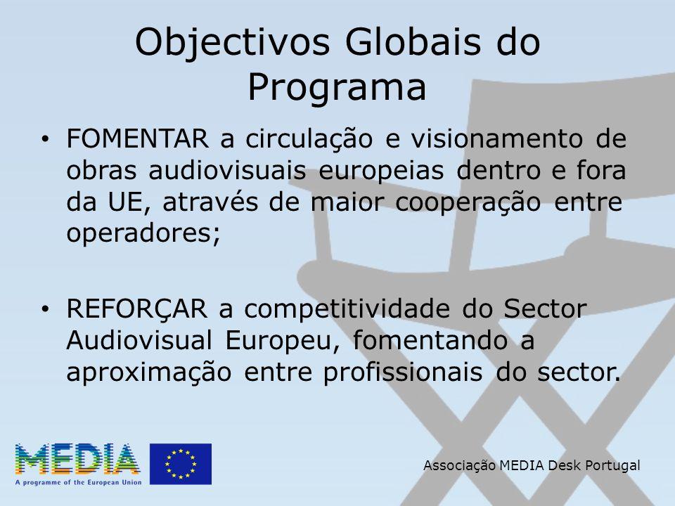 Associação MEDIA Desk Portugal Europa Cinemas Destina-se a Salas de Cinema que cumpram os seguintes requisitos: Salas comerciais de cinema abertas ao público há, pelo menos, 6 meses com sistema de bilheteira oficial e que sejam pertença de instituições europeias;