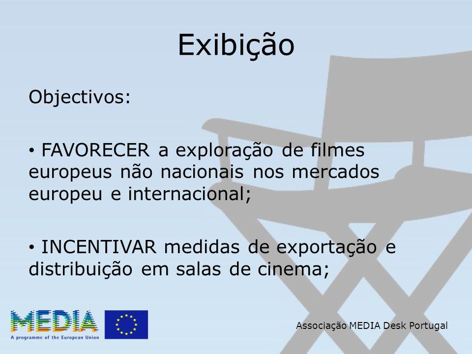 Associação MEDIA Desk Portugal Exibição Objectivos: FAVORECER a exploração de filmes europeus não nacionais nos mercados europeu e internacional; INCE
