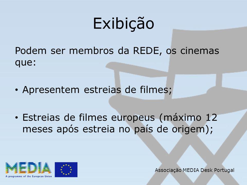 Associação MEDIA Desk Portugal Exibição Podem ser membros da REDE, os cinemas que: Apresentem estreias de filmes; Estreias de filmes europeus (máximo