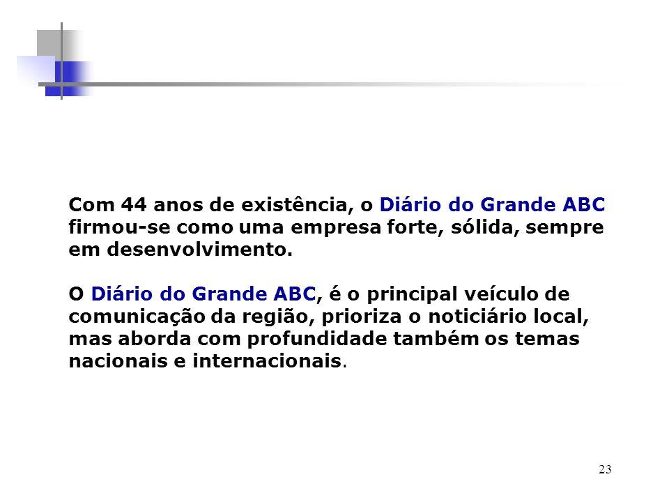 23 Com 44 anos de existência, o Diário do Grande ABC firmou-se como uma empresa forte, sólida, sempre em desenvolvimento.