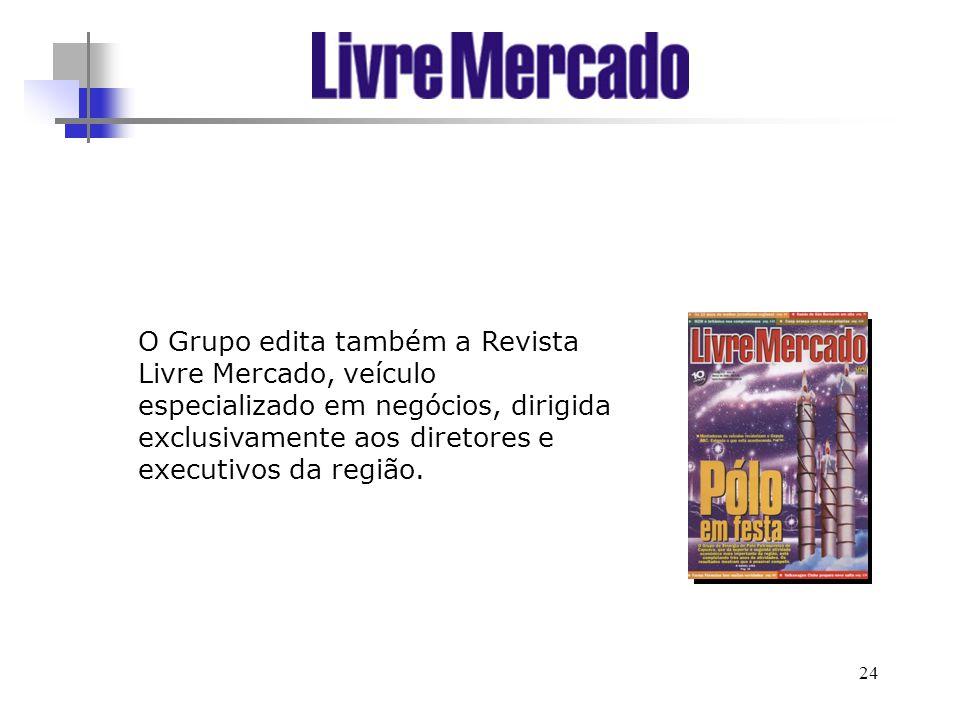 24 O Grupo edita também a Revista Livre Mercado, veículo especializado em negócios, dirigida exclusivamente aos diretores e executivos da região.