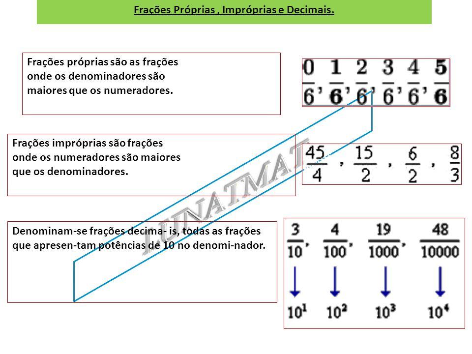 Números inteiros e fracionários Número racional inteiro, porque o numerador é múltiplo do denominador. Número racional fracionário, porque o nu- merad