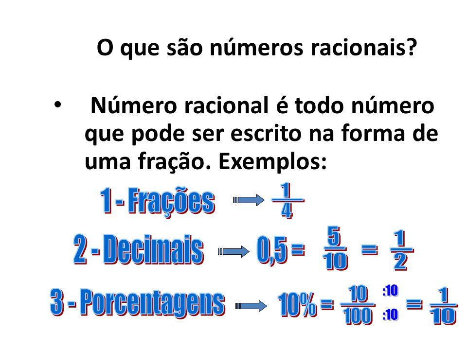 Frações decimaisNúmeros decimais Exemplos: