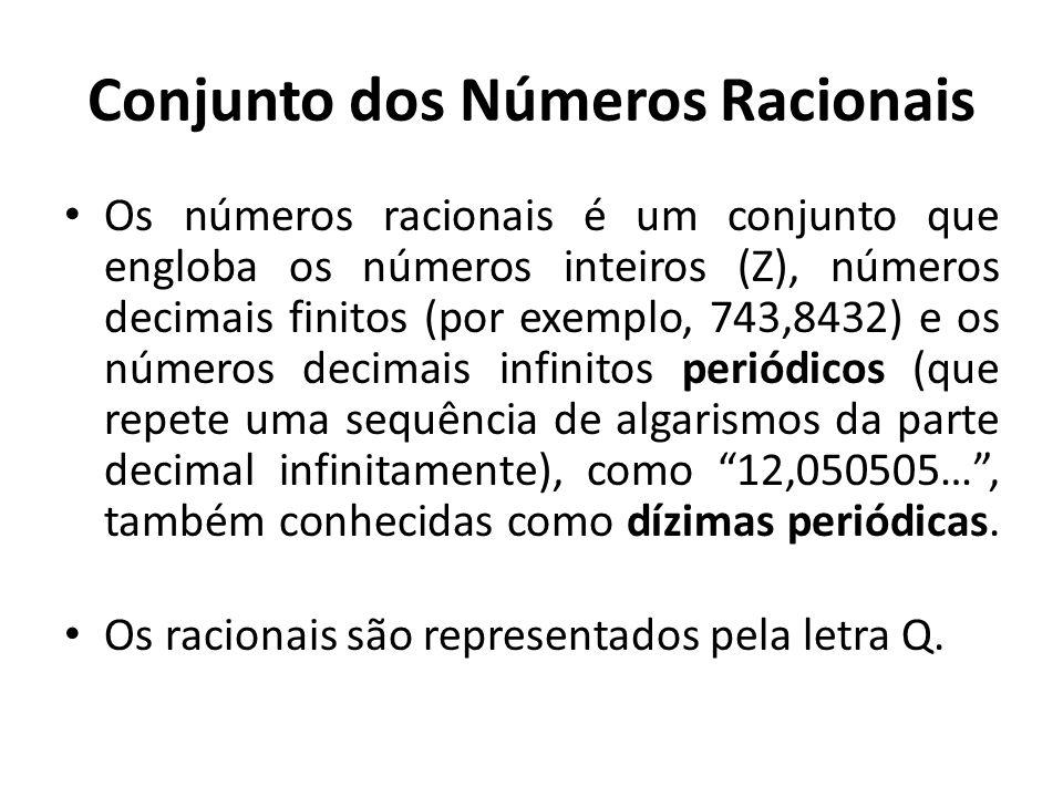 Conjunto dos Números Inteiros São todos os números que pertencem ao conjunto dos Naturais mais os seus respectivos opostos (negativos). São representa