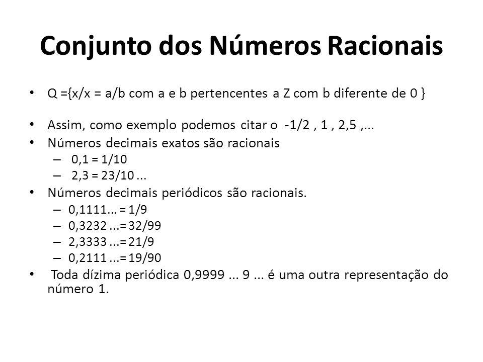 Conjunto dos Números Racionais Os números racionais é um conjunto que engloba os números inteiros (Z), números decimais finitos (por exemplo, 743,8432