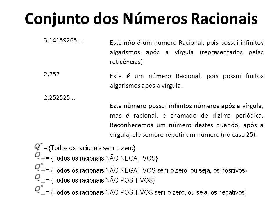Conjunto dos Números Racionais Q ={x/x = a/b com a e b pertencentes a Z com b diferente de 0 } Assim, como exemplo podemos citar o -1/2, 1, 2,5,... Nú
