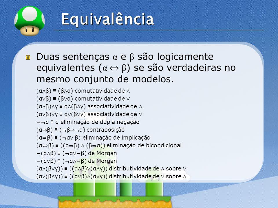 LOGO Equivalência Duas sentenças α e β são logicamente equivalentes ( α β ) se são verdadeiras no mesmo conjunto de modelos.