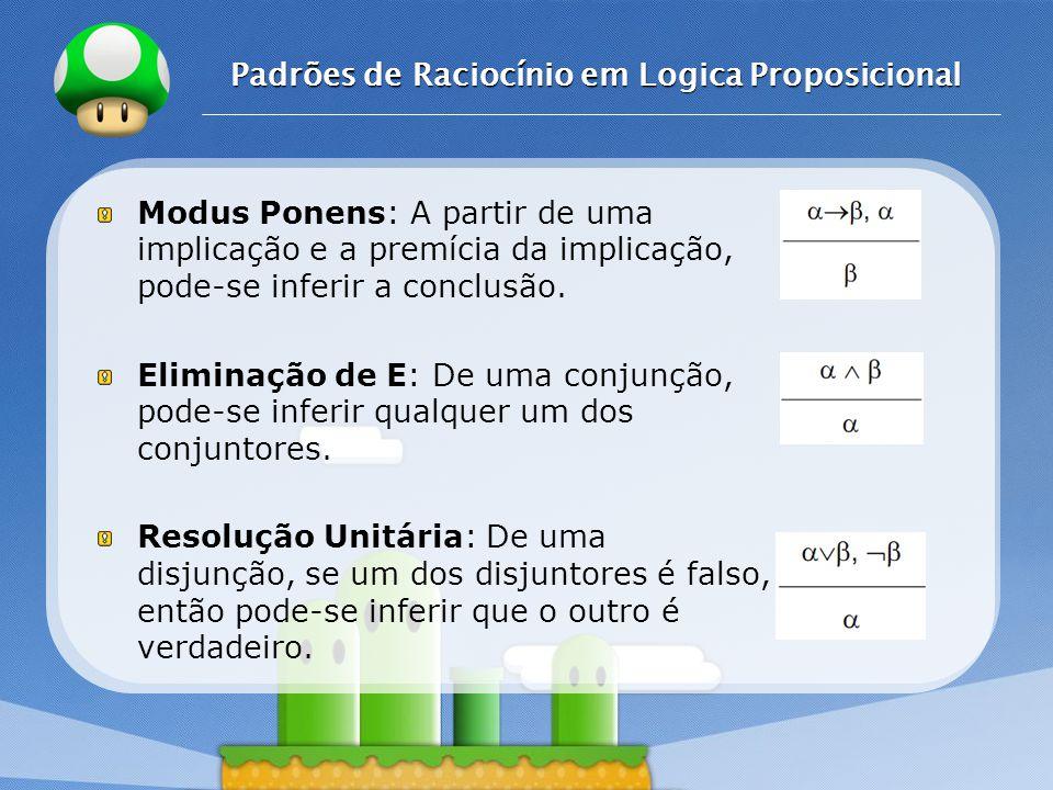 LOGO Padrões de Raciocínio em Logica Proposicional Modus Ponens: A partir de uma implicação e a premícia da implicação, pode-se inferir a conclusão.