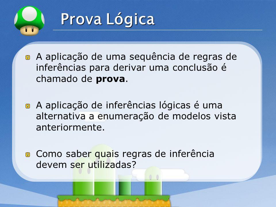 LOGO Prova Lógica A aplicação de uma sequência de regras de inferências para derivar uma conclusão é chamado de prova.