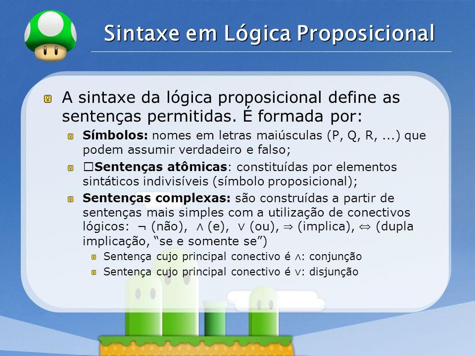 LOGO Sintaxe em Lógica Proposicional A sintaxe da lógica proposicional define as sentenças permitidas.