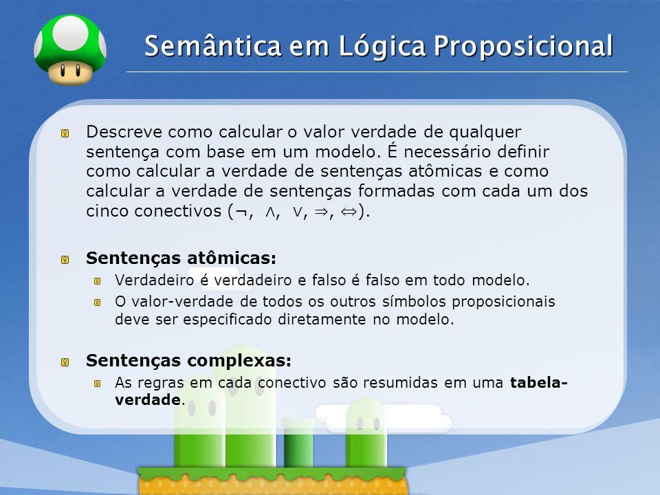 LOGO Semântica em Lógica Proposicional Descreve como calcular o valor verdade de qualquer sentença com base em um modelo.