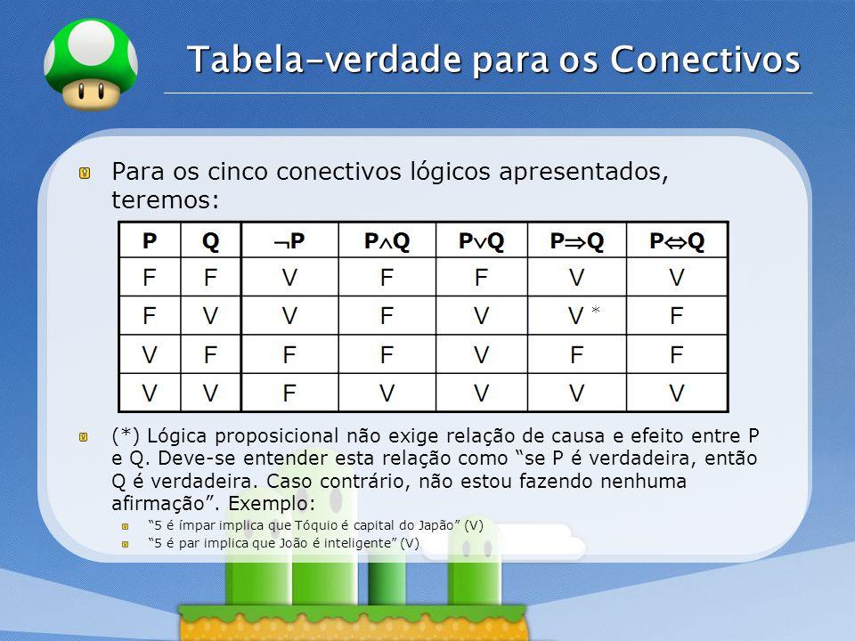 LOGO Tabela-verdade para os Conectivos Para os cinco conectivos lógicos apresentados, teremos: (*) Lógica proposicional não exige relação de causa e efeito entre P e Q.