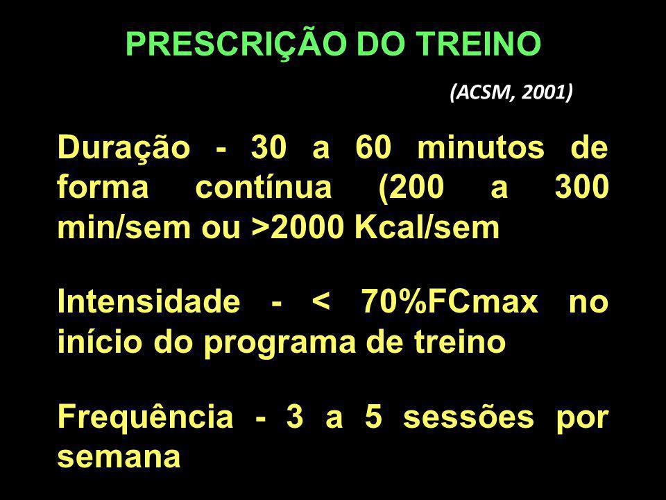 Duração - 30 a 60 minutos de forma contínua (200 a 300 min/sem ou >2000 Kcal/sem Intensidade - < 70%FCmax no início do programa de treino Frequência -