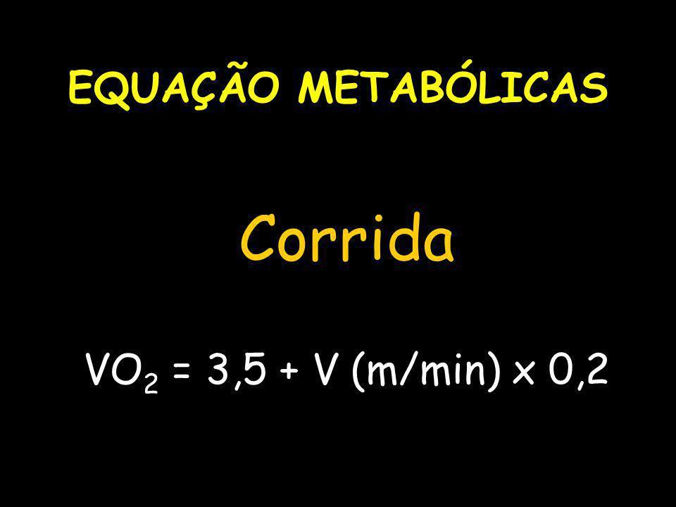 EQUAÇÃO METABÓLICAS Corrida VO 2 = 3,5 + V (m/min) x 0,2