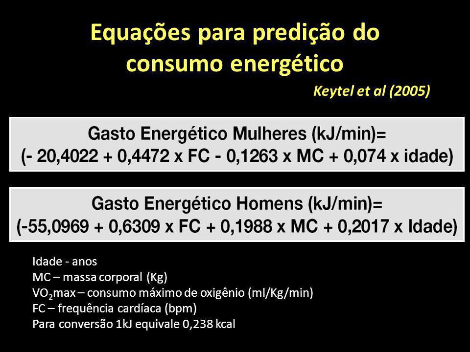 Equações para predição do consumo energético Keytel et al (2005) Idade - anos MC – massa corporal (Kg) VO 2 max – consumo máximo de oxigênio (ml/Kg/mi