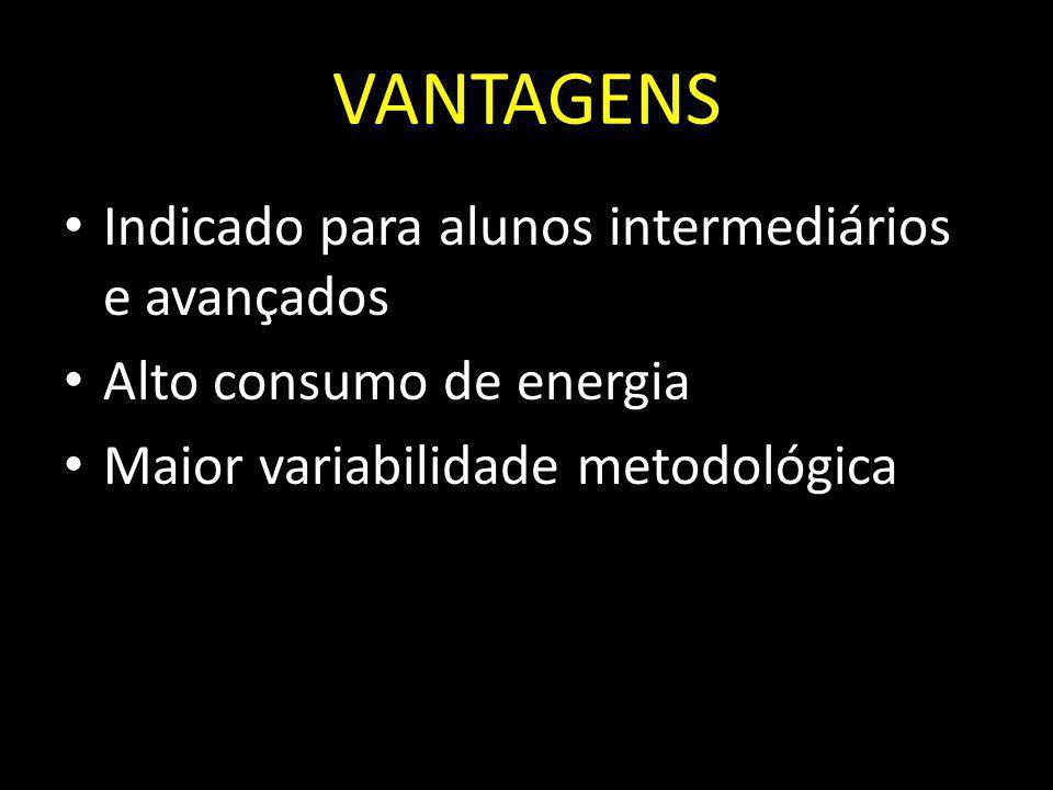 VANTAGENS Indicado para alunos intermediários e avançados Alto consumo de energia Maior variabilidade metodológica