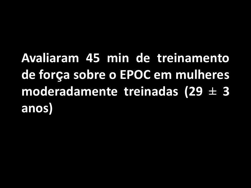 Avaliaram 45 min de treinamento de for ç a sobre o EPOC em mulheres moderadamente treinadas (29 ± 3 anos) Binzen CA, Swan PD, Manore MM. Postexercise