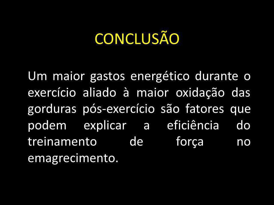 CONCLUSÃO Um maior gastos energético durante o exercício aliado à maior oxidação das gorduras pós-exercício são fatores que podem explicar a eficiênci