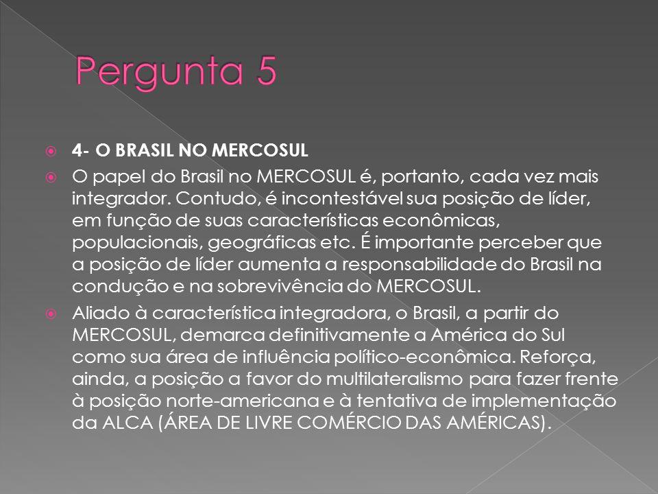 4- O BRASIL NO MERCOSUL O papel do Brasil no MERCOSUL é, portanto, cada vez mais integrador. Contudo, é incontestável sua posição de líder, em função