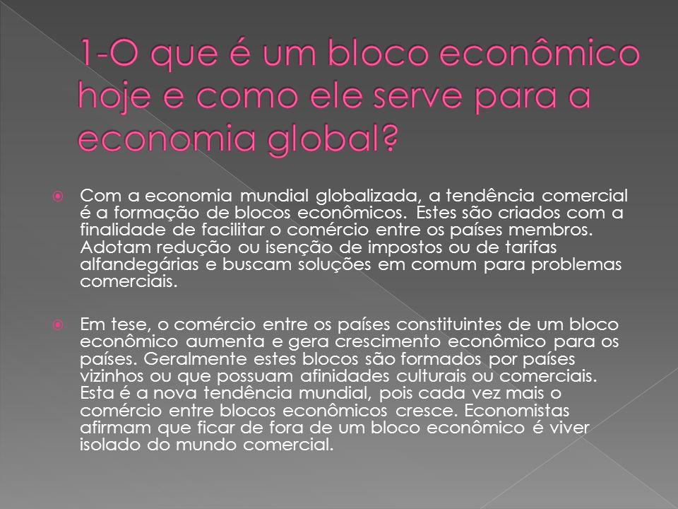 Com a economia mundial globalizada, a tendência comercial é a formação de blocos econômicos. Estes são criados com a finalidade de facilitar o comérci