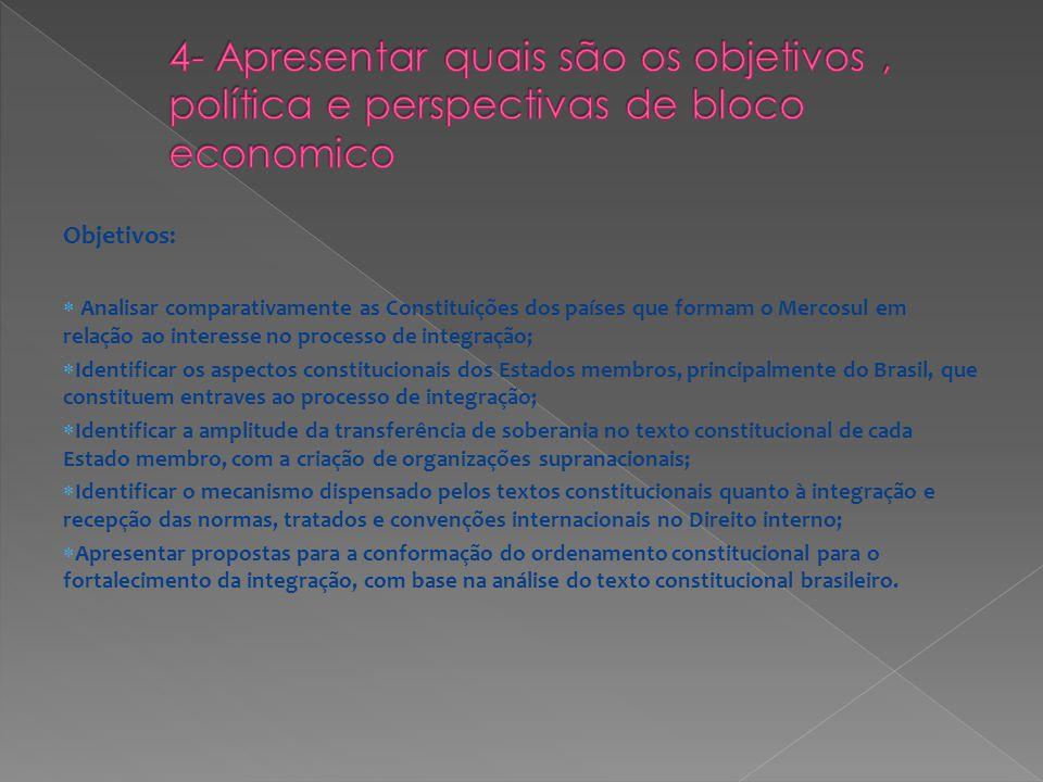 Objetivos: Analisar comparativamente as Constituições dos países que formam o Mercosul em relação ao interesse no processo de integração; Identificar