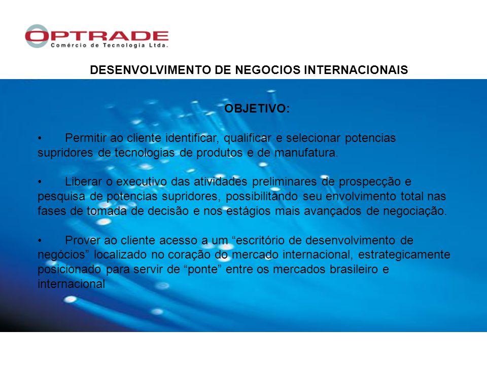 DESENVOLVIMENTO DE NEGOCIOS INTERNACIONAIS OBJETIVO: Permitir ao cliente identificar, qualificar e selecionar potencias supridores de tecnologias de produtos e de manufatura.
