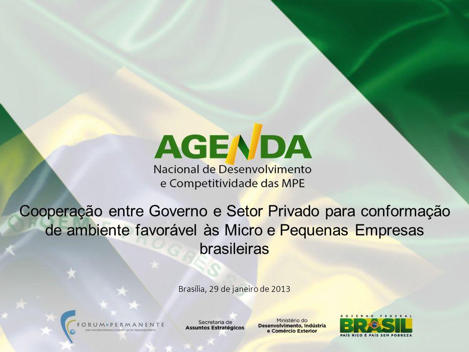 Brasília, 29 de janeiro de 2013 Cooperação entre Governo e Setor Privado para conformação de ambiente favorável às Micro e Pequenas Empresas brasileiras