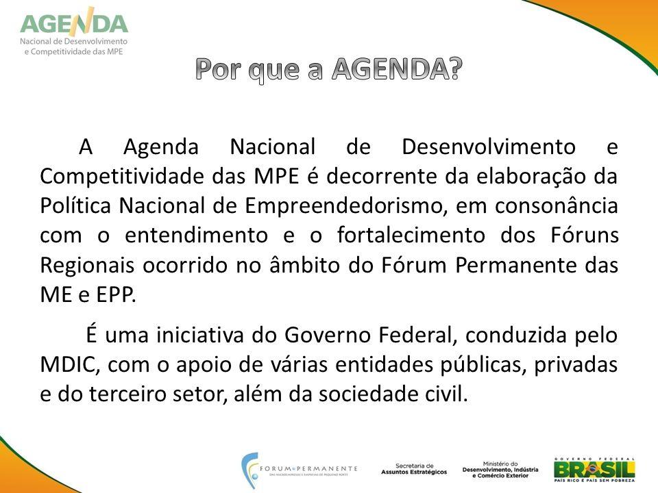 A Agenda Nacional de Desenvolvimento e Competitividade das MPE é decorrente da elaboração da Política Nacional de Empreendedorismo, em consonância com o entendimento e o fortalecimento dos Fóruns Regionais ocorrido no âmbito do Fórum Permanente das ME e EPP.
