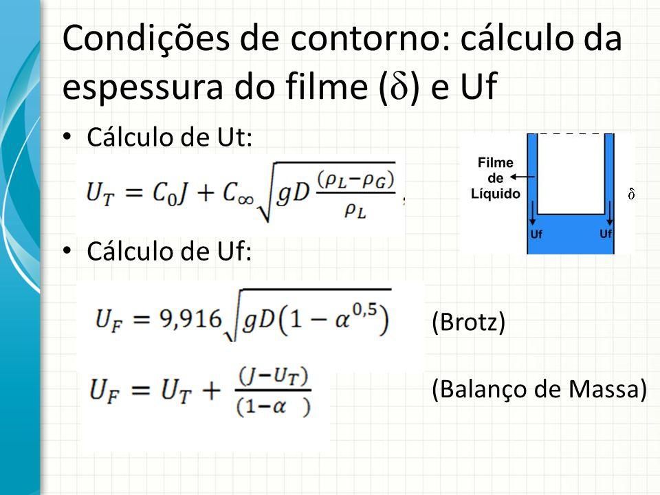 Condições de contorno: cálculo da espessura do filme ( δ ) e Uf Cálculo de Ut: Cálculo de Uf: (Brotz) (Balanço de Massa)