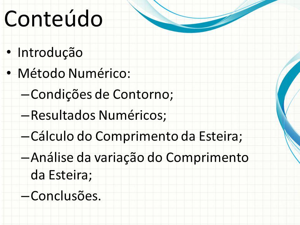 Conteúdo Introdução Método Numérico: – Condições de Contorno; – Resultados Numéricos; – Cálculo do Comprimento da Esteira; – Análise da variação do Co