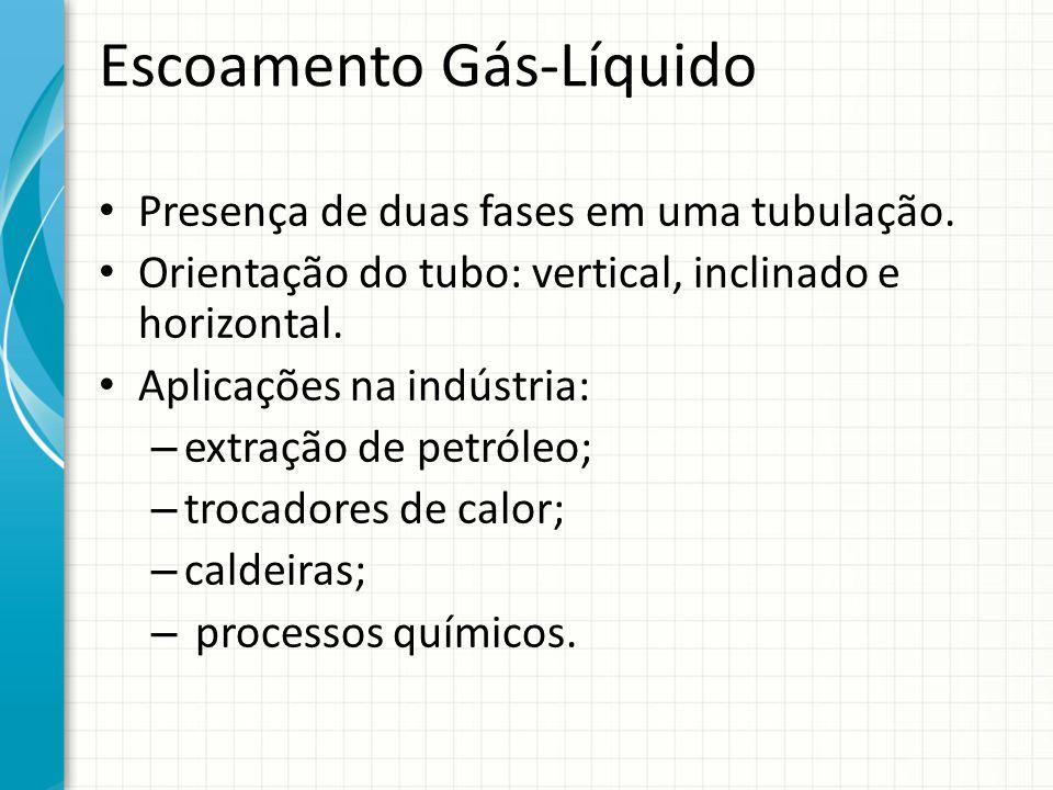 Escoamento Gás-Líquido Presença de duas fases em uma tubulação. Orientação do tubo: vertical, inclinado e horizontal. Aplicações na indústria: – extra
