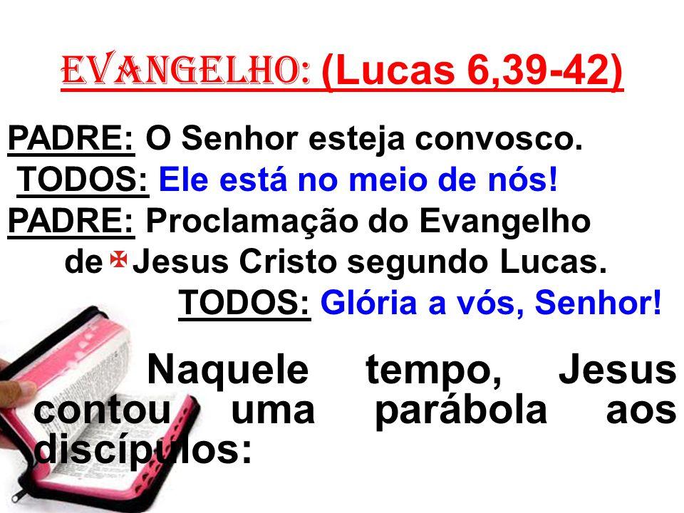 EVANGELHO: (Lucas 6,39-42) PADRE: O Senhor esteja convosco. TODOS: Ele está no meio de nós! PADRE: Proclamação do Evangelho de Jesus Cristo segundo Lu