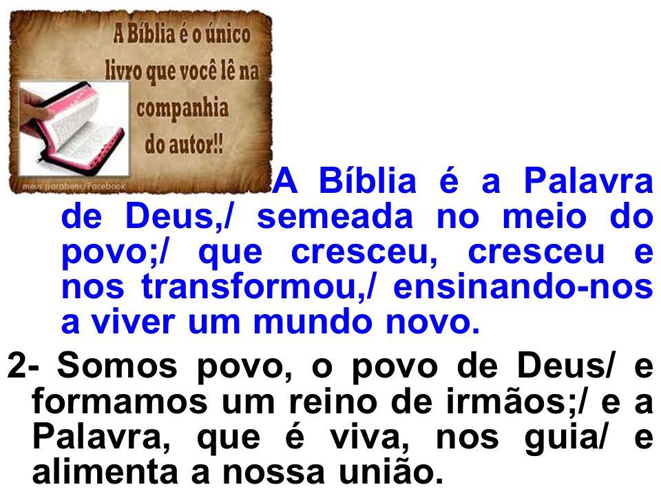 A Bíblia é a Palavra de Deus,/ semeada no meio do povo;/ que cresceu, cresceu e nos transformou,/ ensinando-nos a viver um mundo novo. 2- Somos povo,