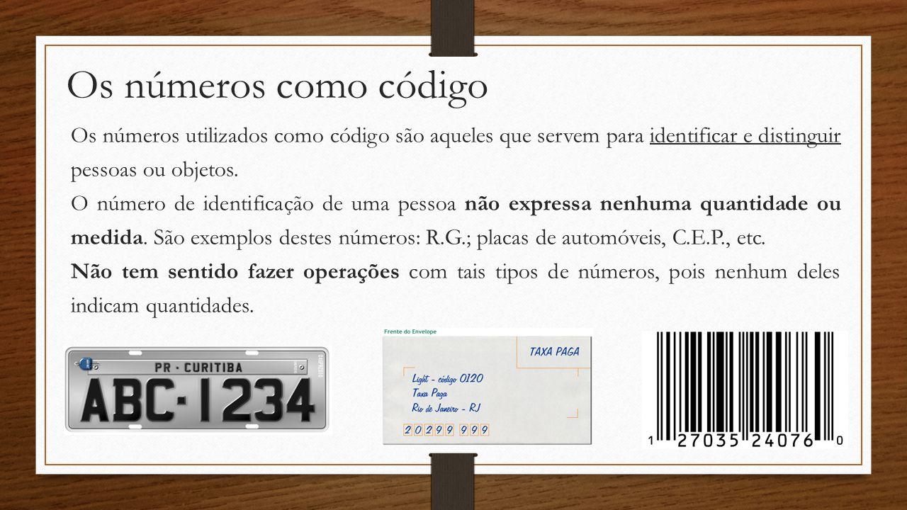 Os números como código Os números utilizados como código são aqueles que servem para identificar e distinguir pessoas ou objetos. O número de identifi