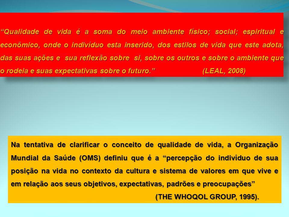 Na tentativa de clarificar o conceito de qualidade de vida, a Organização Mundial da Saúde (OMS) definiu que é a percepção do indivíduo de sua posição
