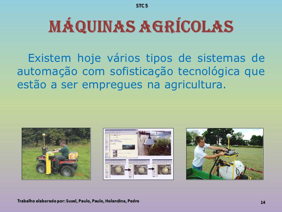 Máquinas Agrícolas Existem hoje vários tipos de sistemas de automação com sofisticação tecnológica que estão a ser empregues na agricultura. Trabalho
