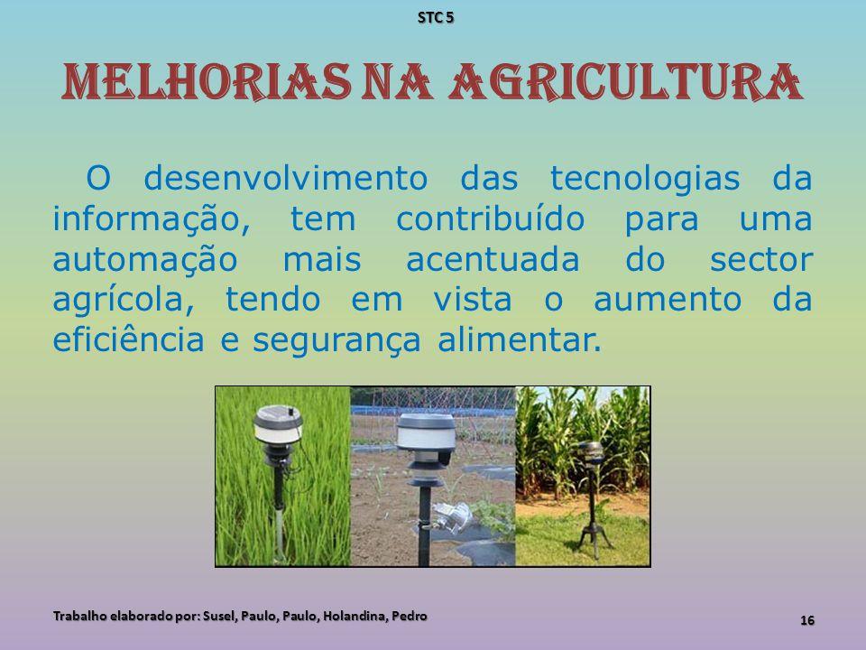 Melhorias na Agricultura O desenvolvimento das tecnologias da informação, tem contribuído para uma automação mais acentuada do sector agrícola, tendo
